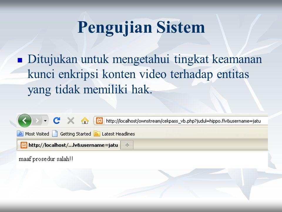Pengujian Sistem Ditujukan untuk mengetahui tingkat keamanan kunci enkripsi konten video terhadap entitas yang tidak memiliki hak.