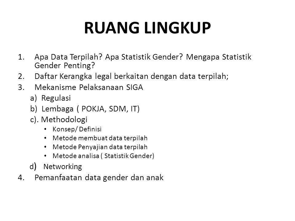 RUANG LINGKUP Apa Data Terpilah Apa Statistik Gender Mengapa Statistik Gender Penting Daftar Kerangka legal berkaitan dengan data terpilah;
