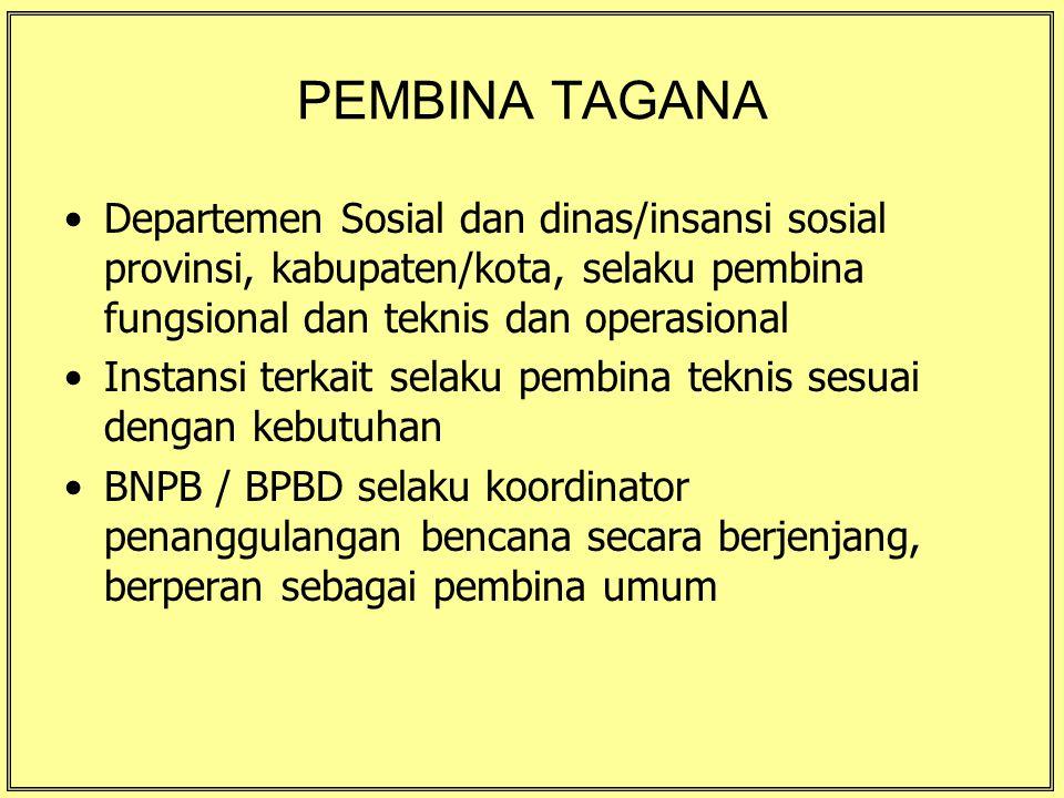 PEMBINA TAGANA Departemen Sosial dan dinas/insansi sosial provinsi, kabupaten/kota, selaku pembina fungsional dan teknis dan operasional.
