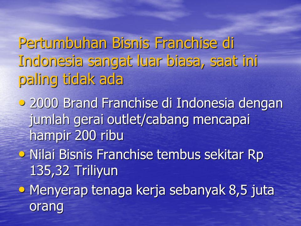 Pertumbuhan Bisnis Franchise di Indonesia sangat luar biasa, saat ini paling tidak ada