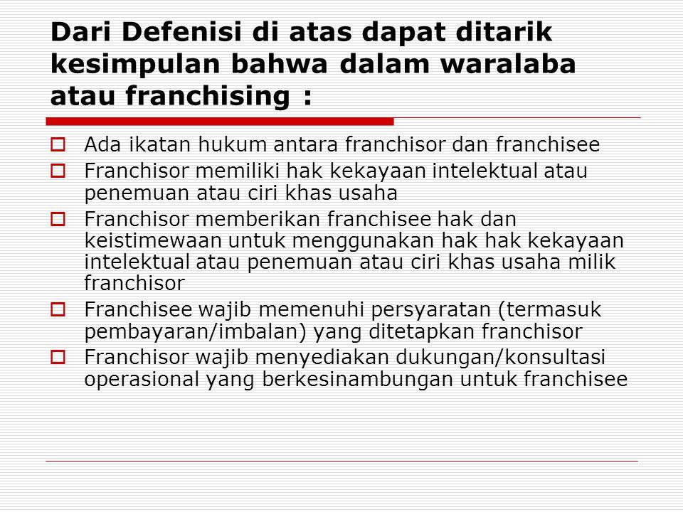 Dari Defenisi di atas dapat ditarik kesimpulan bahwa dalam waralaba atau franchising :