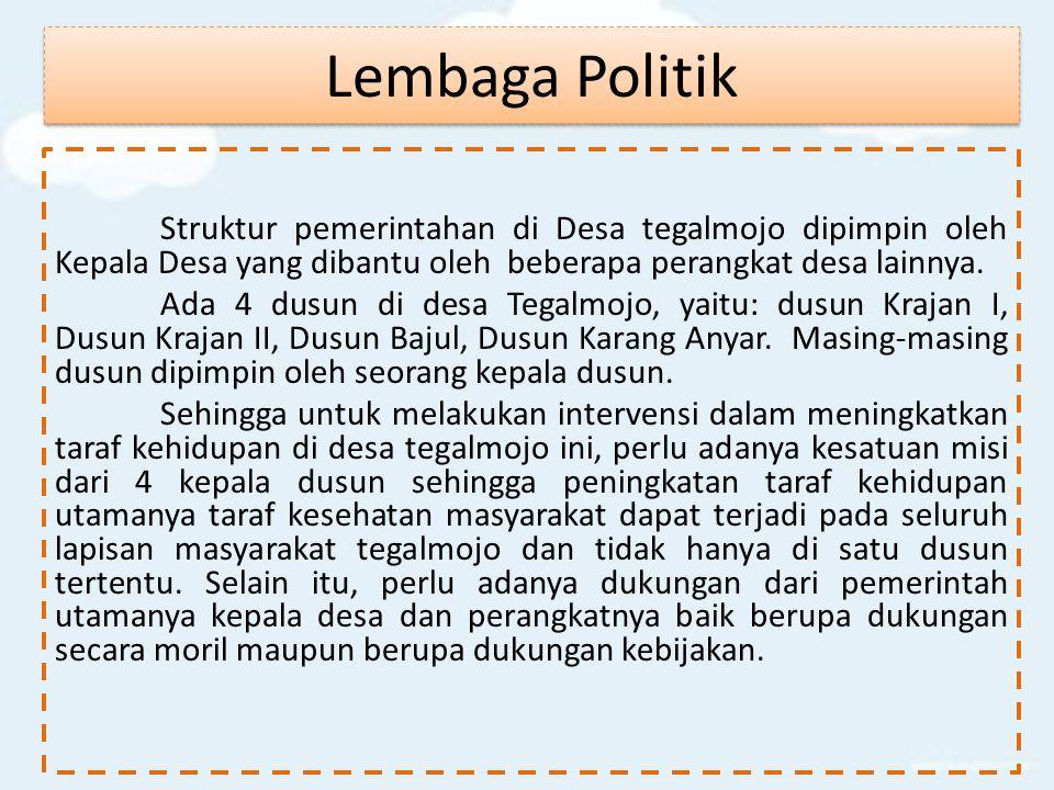 Lembaga Politik Struktur pemerintahan di Desa tegalmojo dipimpin oleh Kepala Desa yang dibantu oleh beberapa perangkat desa lainnya.