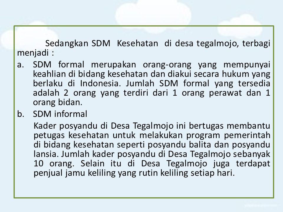 Sedangkan SDM Kesehatan di desa tegalmojo, terbagi menjadi :