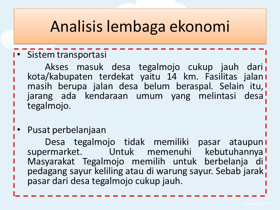 Analisis lembaga ekonomi