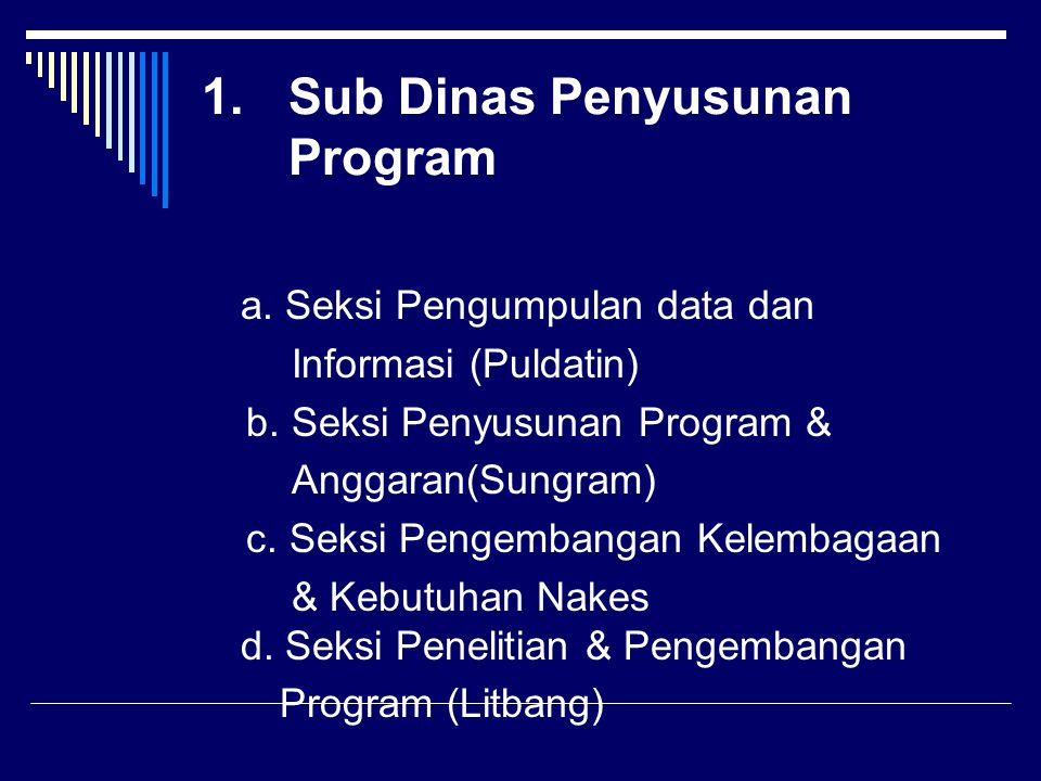 Sub Dinas Penyusunan Program