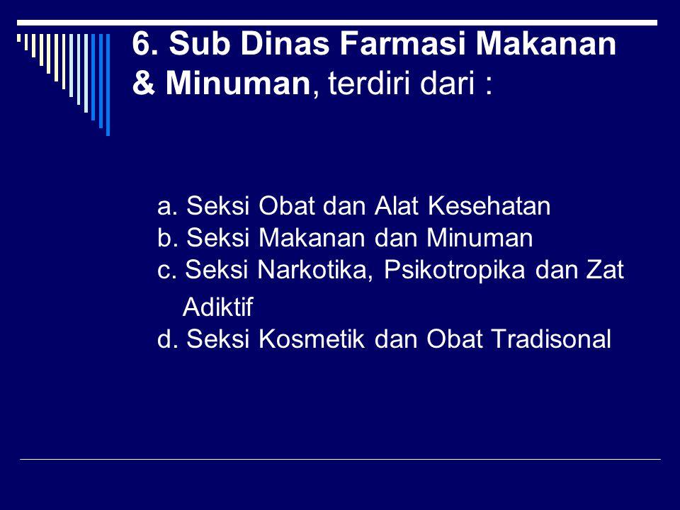 6. Sub Dinas Farmasi Makanan & Minuman, terdiri dari :