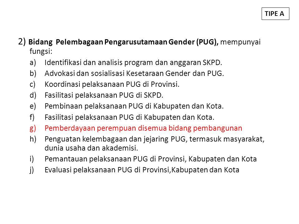2) Bidang Pelembagaan Pengarusutamaan Gender (PUG), mempunyai fungsi: