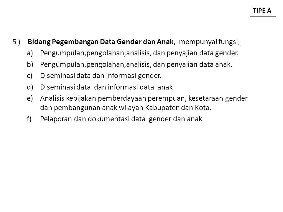 5 ) Bidang Pegembangan Data Gender dan Anak, mempunyai fungsi;
