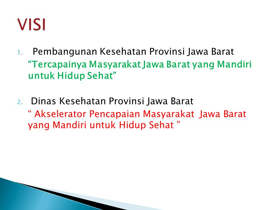 VISI Pembangunan Kesehatan Provinsi Jawa Barat