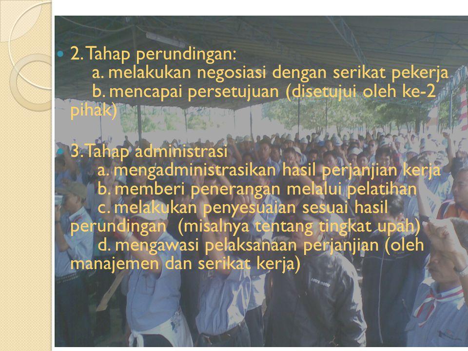 2. Tahap perundingan: a. melakukan negosiasi dengan serikat pekerja b
