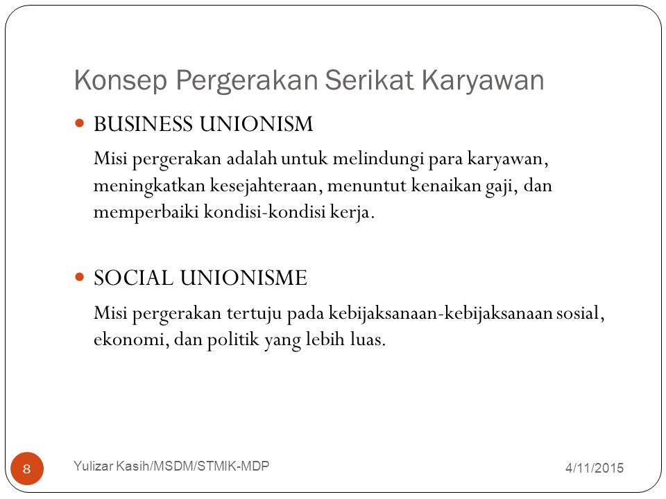 Konsep Pergerakan Serikat Karyawan