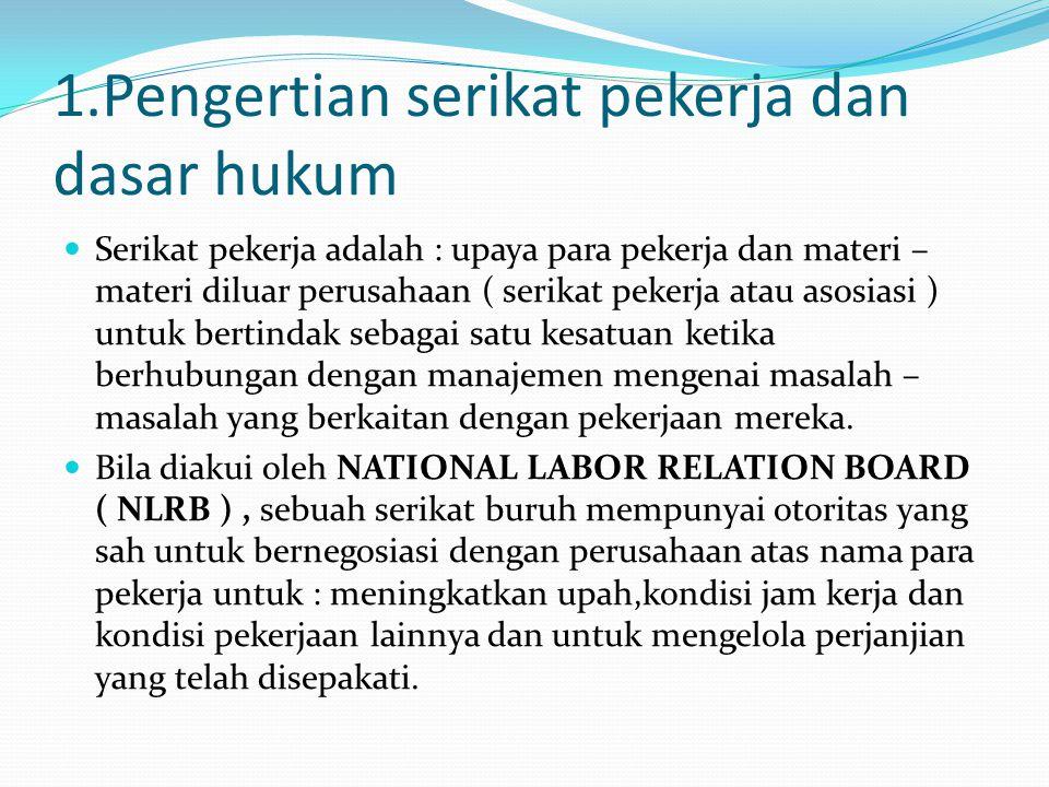 1.Pengertian serikat pekerja dan dasar hukum