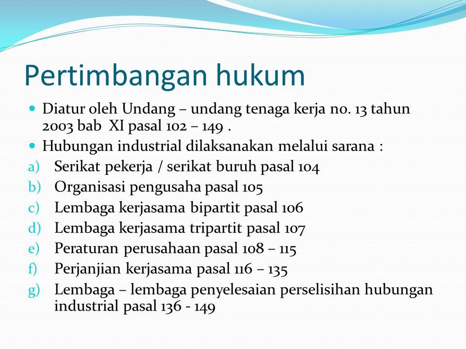 Pertimbangan hukum Diatur oleh Undang – undang tenaga kerja n0. 13 tahun 2003 bab XI pasal 102 – 149 .