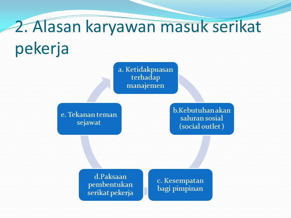 2. Alasan karyawan masuk serikat pekerja
