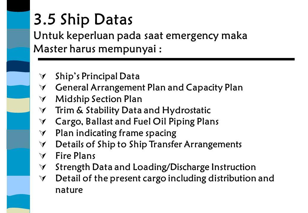 3.5 Ship Datas Untuk keperluan pada saat emergency maka