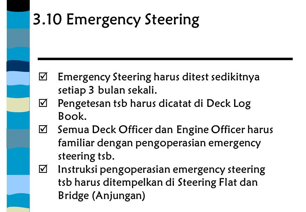 3.10 Emergency Steering Emergency Steering harus ditest sedikitnya