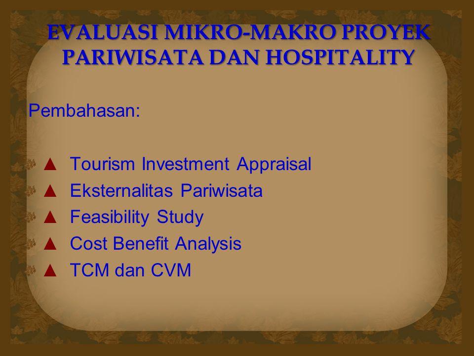 EVALUASI MIKRO-MAKRO PROYEK PARIWISATA DAN HOSPITALITY