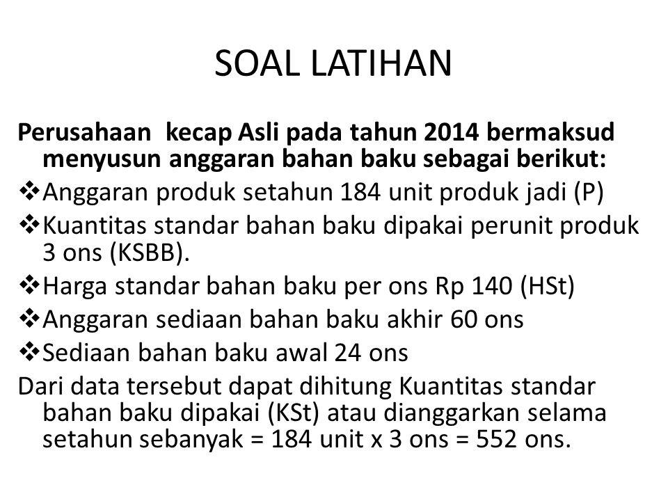 SOAL LATIHAN Perusahaan kecap Asli pada tahun 2014 bermaksud menyusun anggaran bahan baku sebagai berikut: