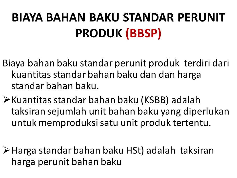 BIAYA BAHAN BAKU STANDAR PERUNIT PRODUK (BBSP)