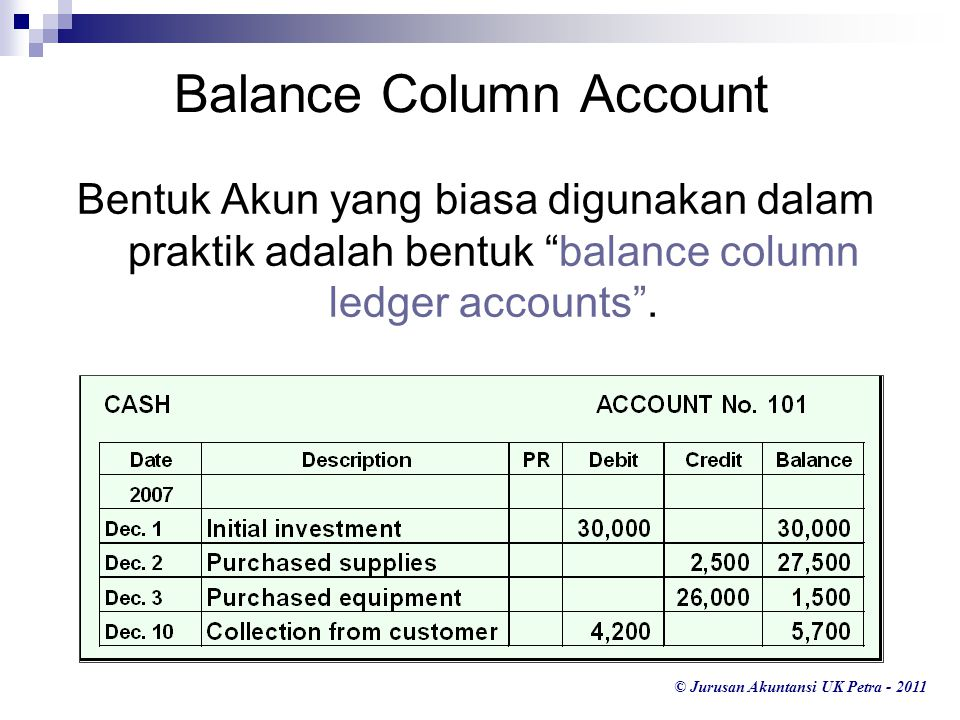 Balance Column Account
