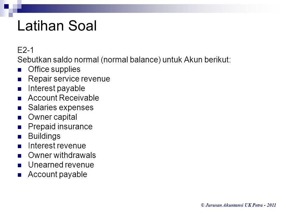 Latihan Soal E2-1. Sebutkan saldo normal (normal balance) untuk Akun berikut: Office supplies. Repair service revenue.