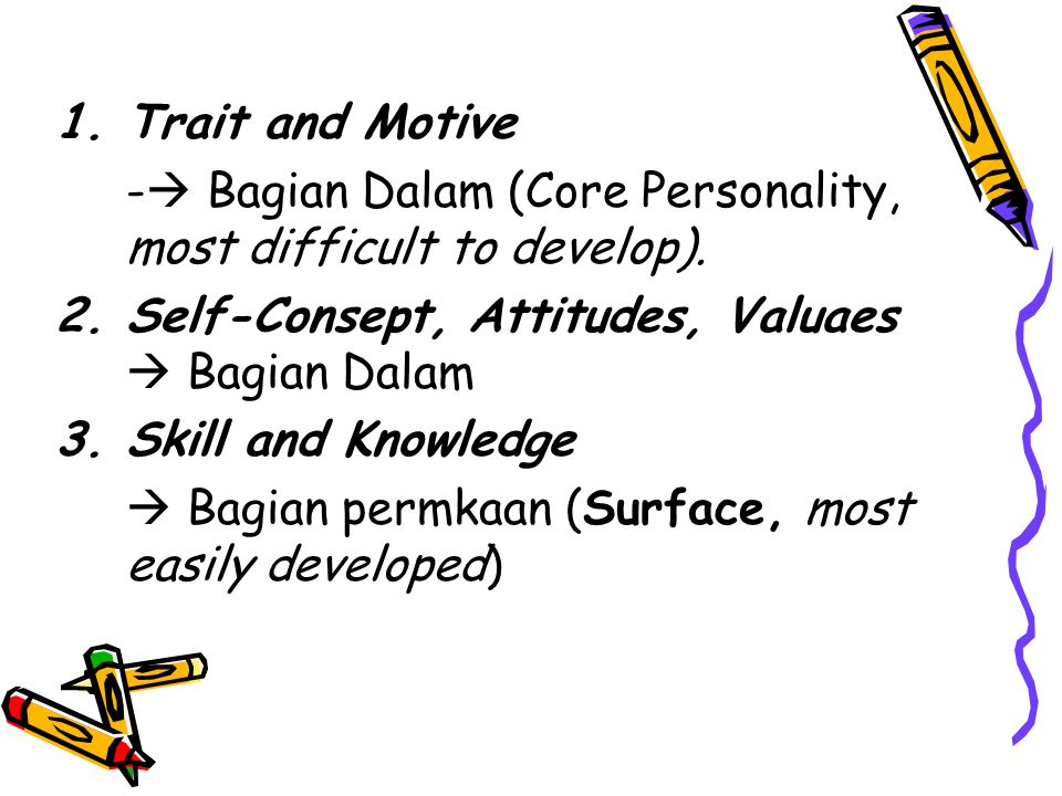 Trait and Motive - Bagian Dalam (Core Personality, most difficult to develop). Self-Consept, Attitudes, Valuaes  Bagian Dalam.