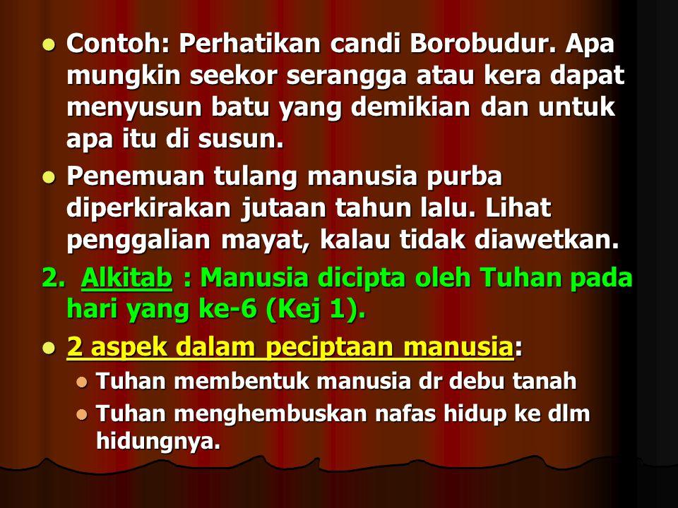 2. Alkitab : Manusia dicipta oleh Tuhan pada hari yang ke-6 (Kej 1).