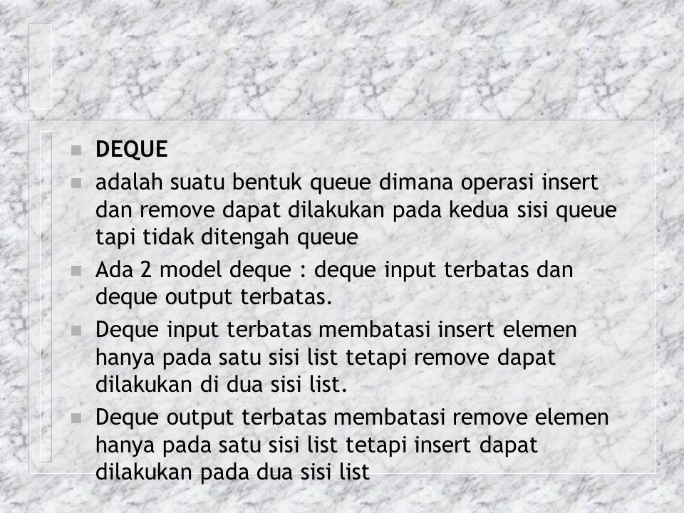 DEQUE adalah suatu bentuk queue dimana operasi insert dan remove dapat dilakukan pada kedua sisi queue tapi tidak ditengah queue.