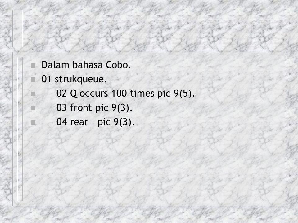 Dalam bahasa Cobol 01 strukqueue. 02 Q occurs 100 times pic 9(5).
