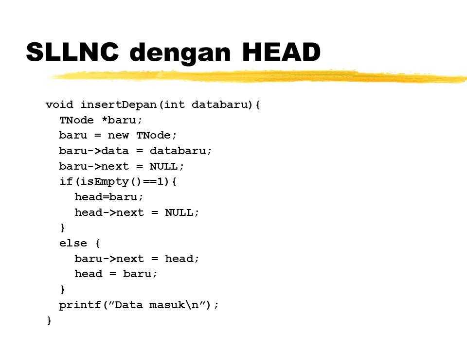 SLLNC dengan HEAD void insertDepan(int databaru){ TNode *baru;