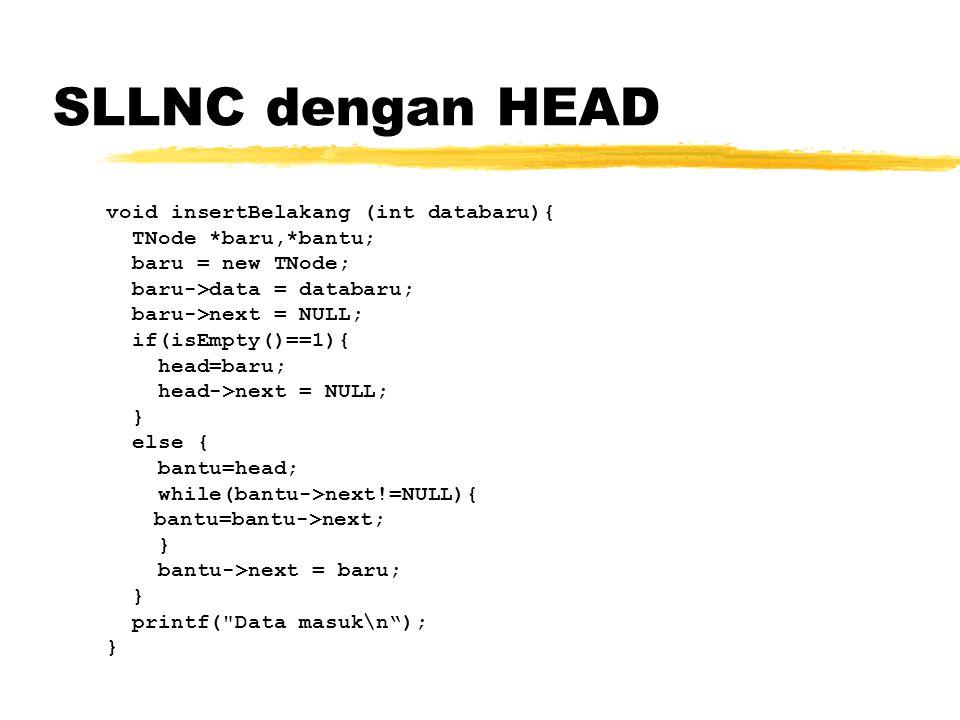 SLLNC dengan HEAD void insertBelakang (int databaru){