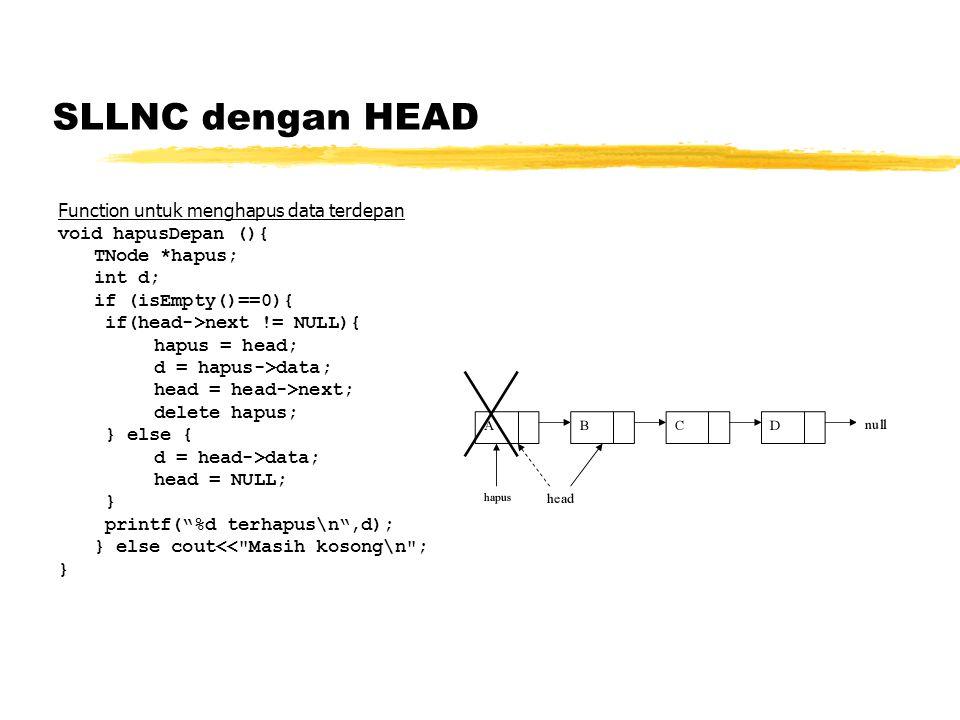 SLLNC dengan HEAD Function untuk menghapus data terdepan