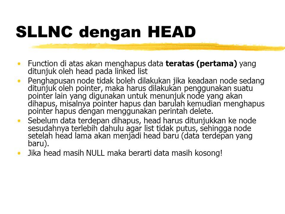 SLLNC dengan HEAD Function di atas akan menghapus data teratas (pertama) yang ditunjuk oleh head pada linked list.