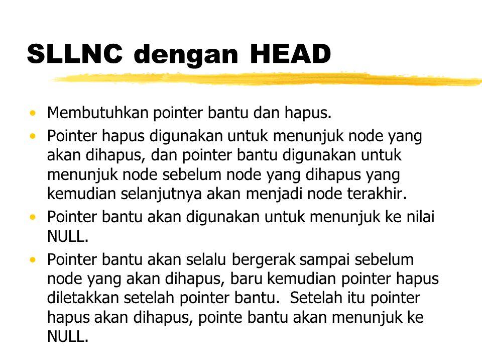 SLLNC dengan HEAD Membutuhkan pointer bantu dan hapus.