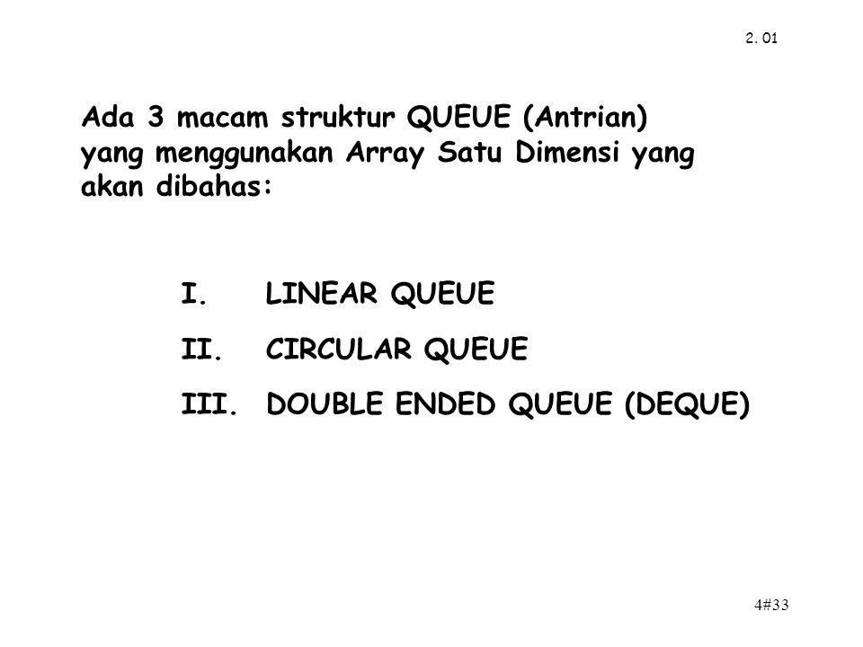Ada 3 macam struktur QUEUE (Antrian)