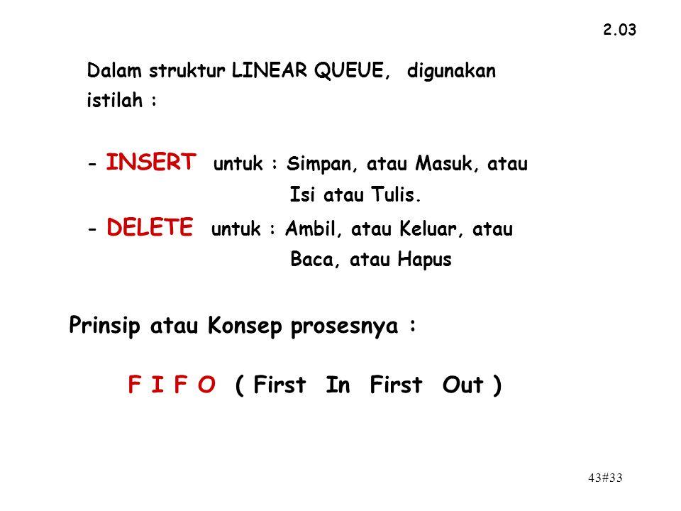 Prinsip atau Konsep prosesnya : F I F O ( First In First Out )