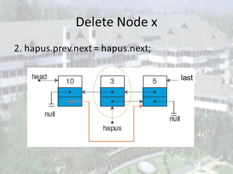 Delete Node x 2. hapus.prev.next = hapus.next; last