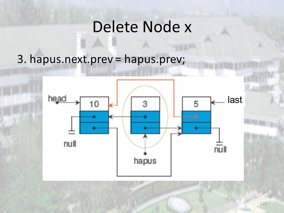 Delete Node x 3. hapus.next.prev = hapus.prev; last