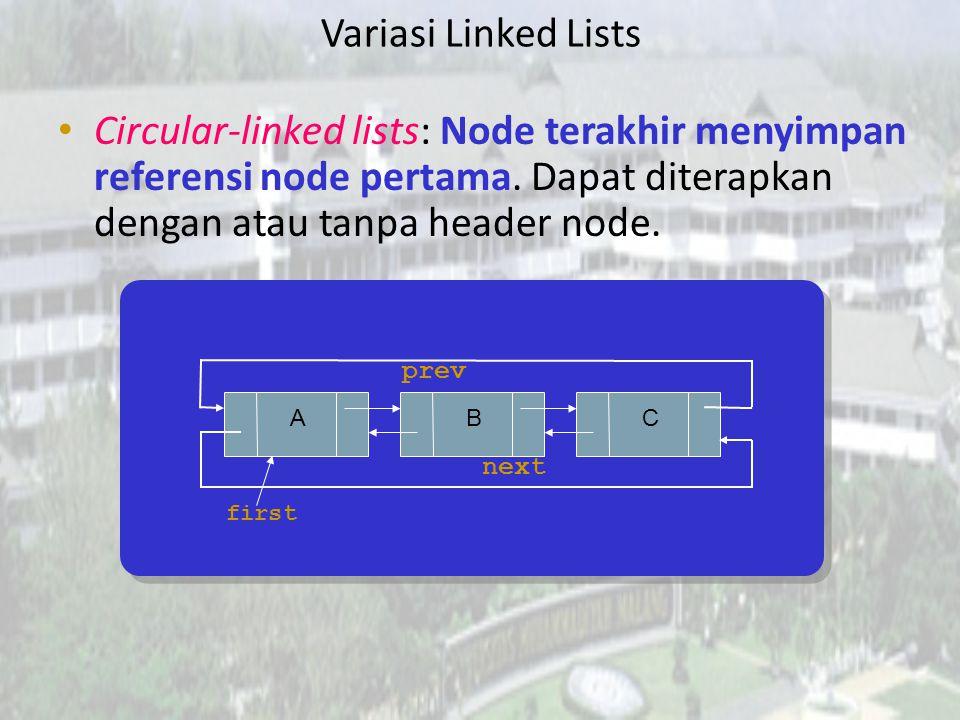 Variasi Linked Lists Circular-linked lists: Node terakhir menyimpan referensi node pertama. Dapat diterapkan dengan atau tanpa header node.