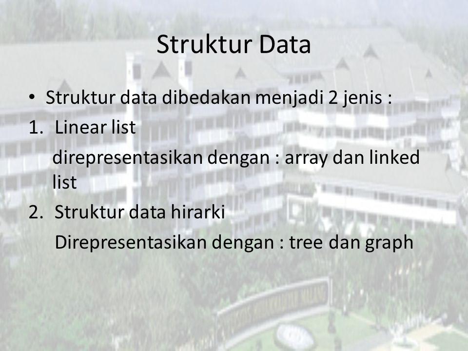 Struktur Data Struktur data dibedakan menjadi 2 jenis : Linear list