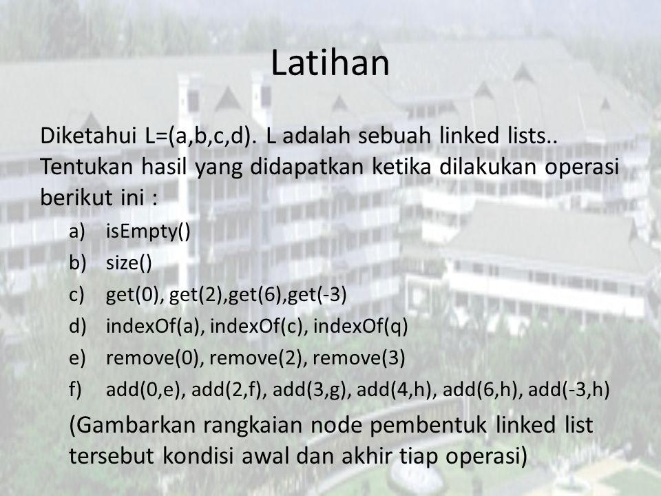 Latihan Diketahui L=(a,b,c,d). L adalah sebuah linked lists.. Tentukan hasil yang didapatkan ketika dilakukan operasi berikut ini :
