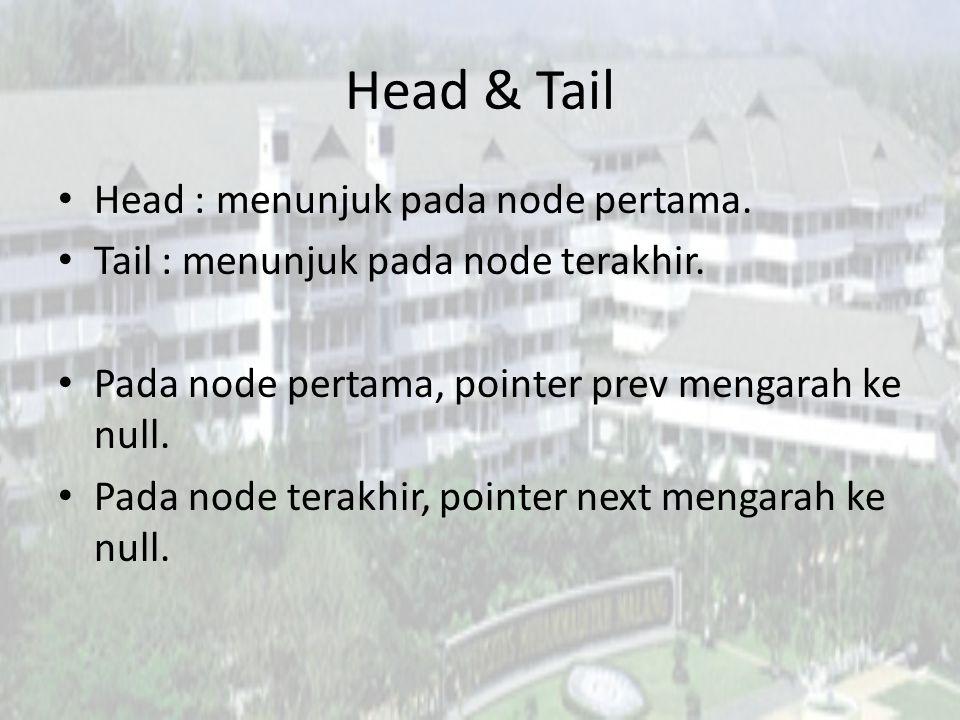 Head & Tail Head : menunjuk pada node pertama.