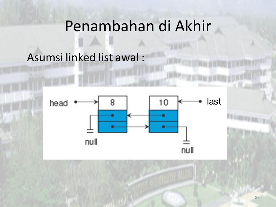Penambahan di Akhir Asumsi linked list awal : last