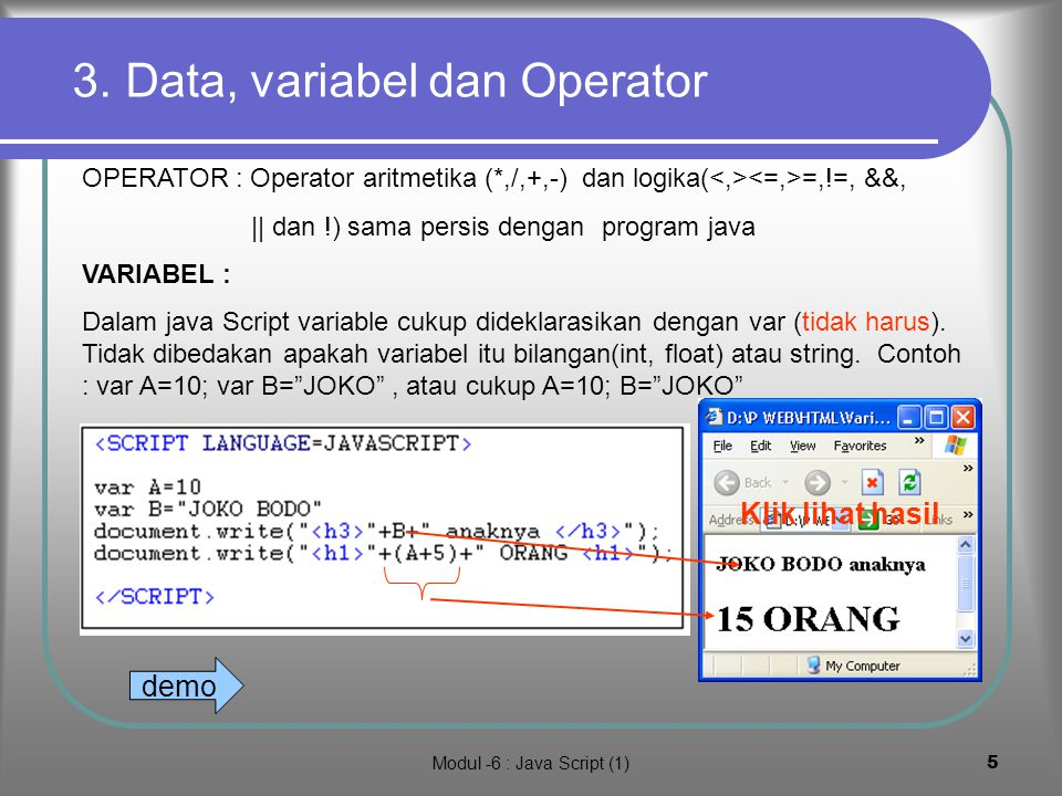 3. Data, variabel dan Operator