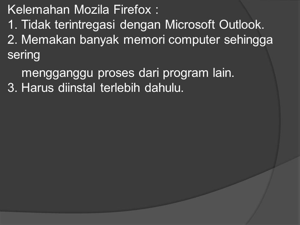 Kelemahan Mozila Firefox : 1
