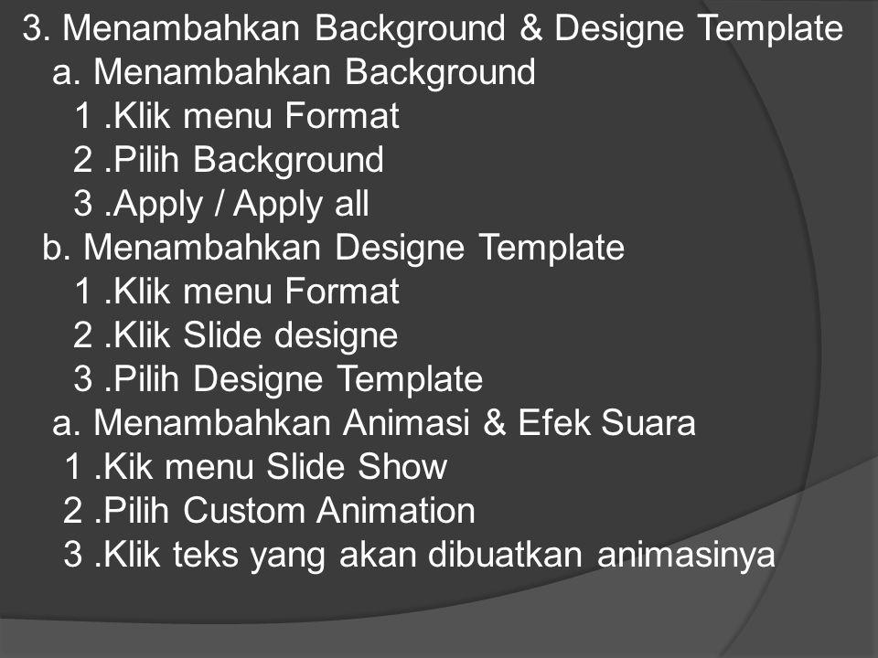 3. Menambahkan Background & Designe Template a