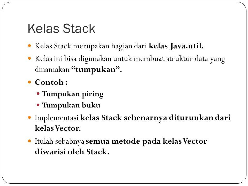 Kelas Stack Kelas Stack merupakan bagian dari kelas Java.util.