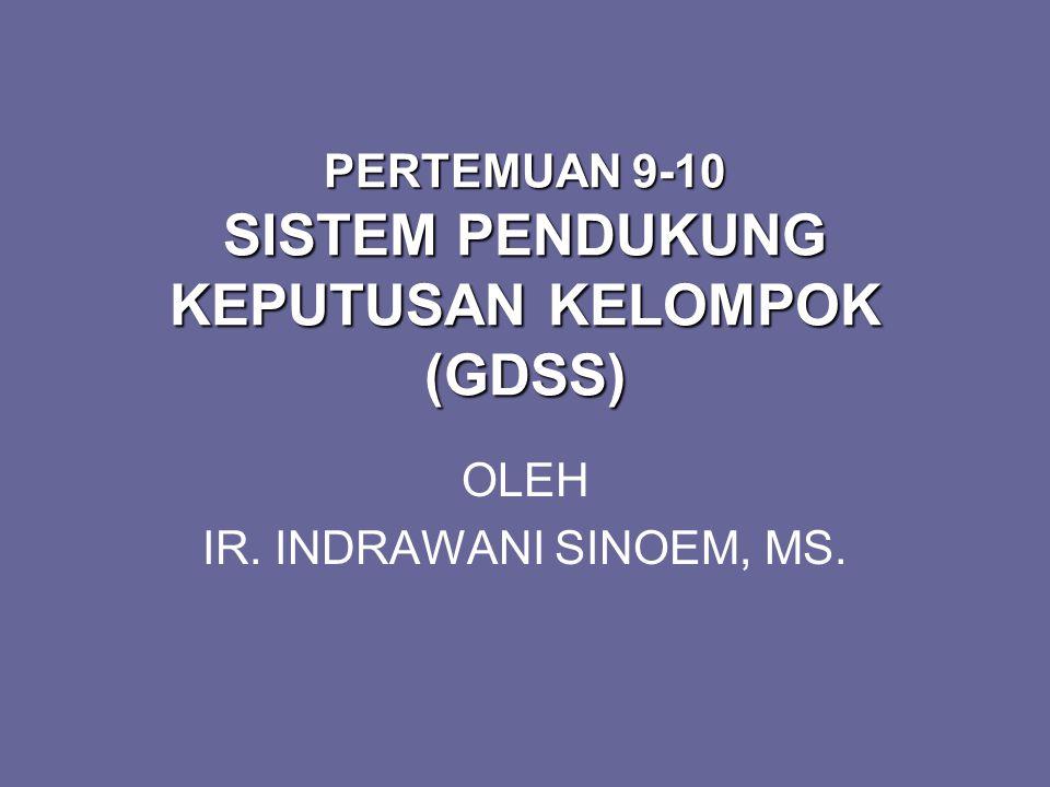 PERTEMUAN 9-10 SISTEM PENDUKUNG KEPUTUSAN KELOMPOK (GDSS)