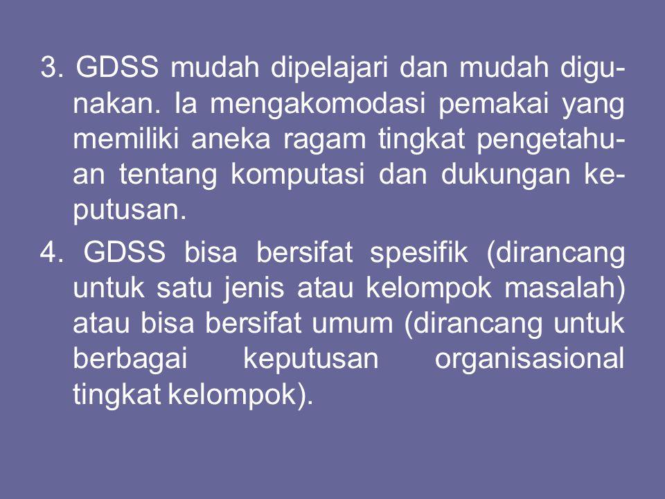 3. GDSS mudah dipelajari dan mudah digu-nakan