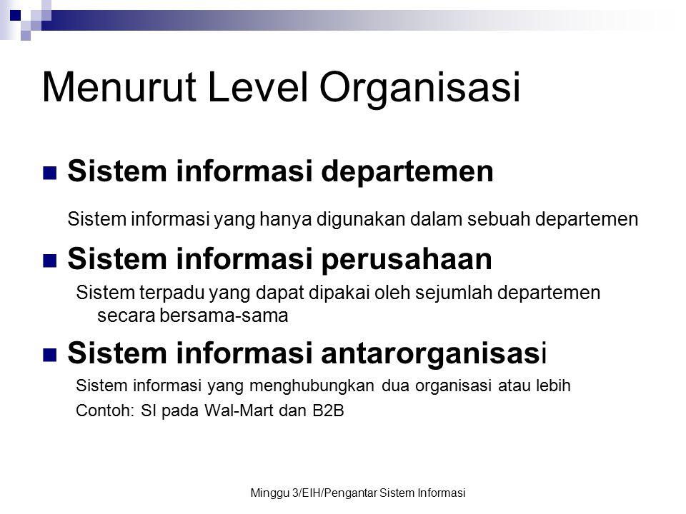 Menurut Level Organisasi